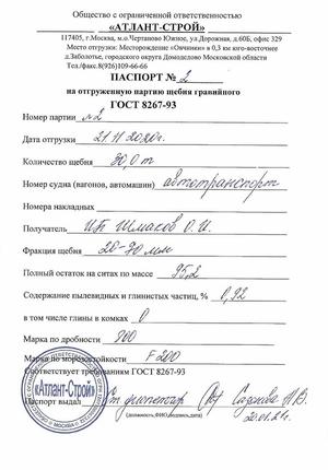 Паспорт на гравийный щебень 40-70