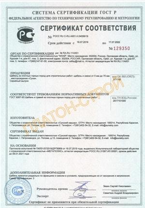 Сертификат на гранитный щебень
