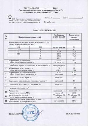 сертификат на шлаковую ЩПС